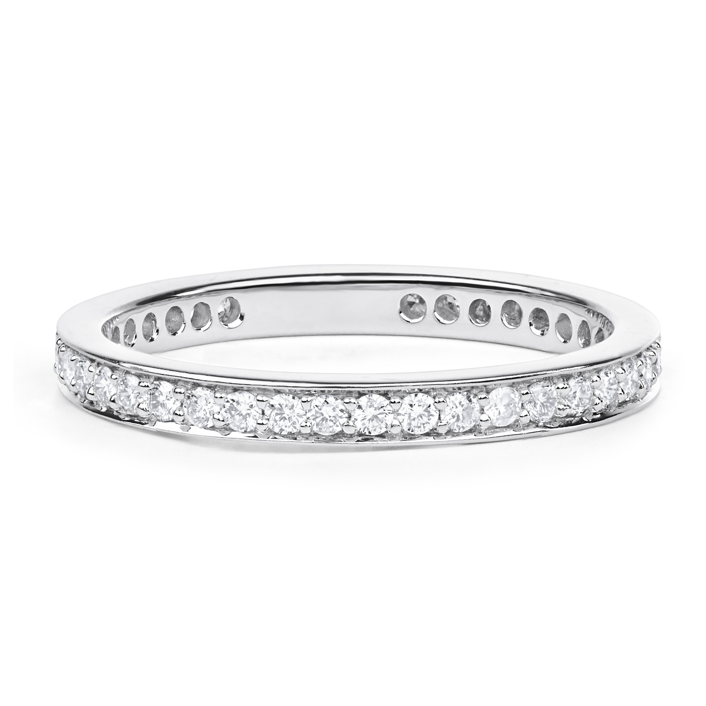 Petite Channel Set Diamond Eternity Wedding Ring In 18k White Gold ( (View 16 of 25)