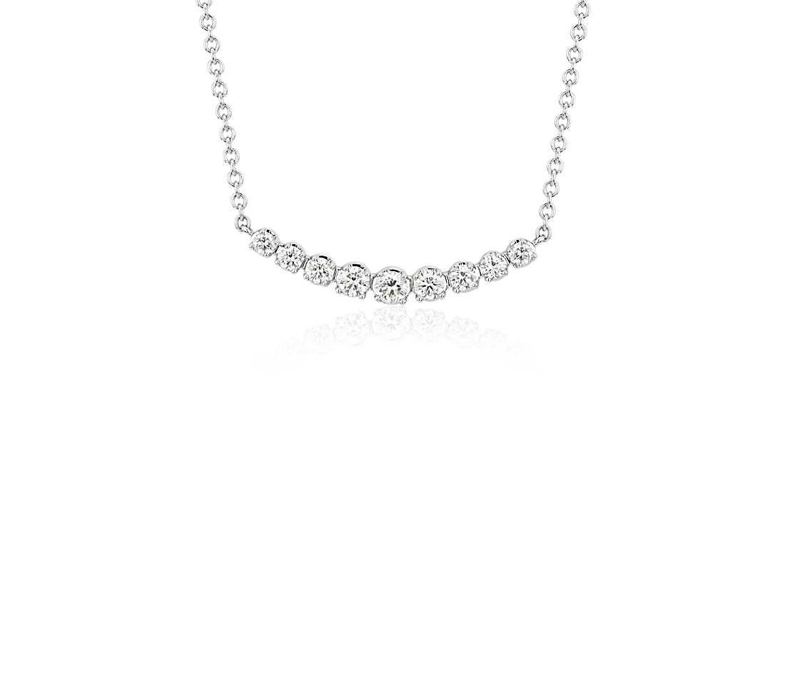 Petite Curved Diamond Bar Necklace In 18k White Gold (1/3 Ct (View 2 of 25)