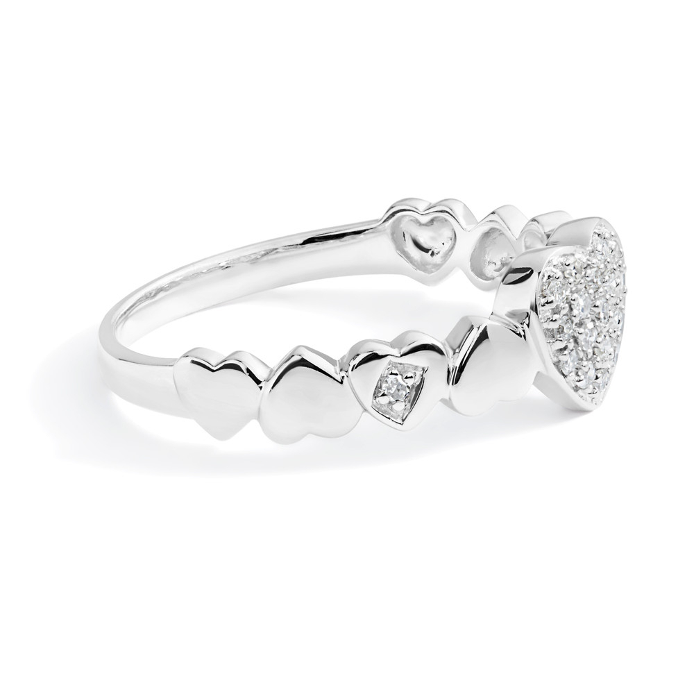 Petite Diamond Pavé Heart Ring In 14K White Gold Intended For 2018 Pavé Hearts Band Rings (Gallery 17 of 25)