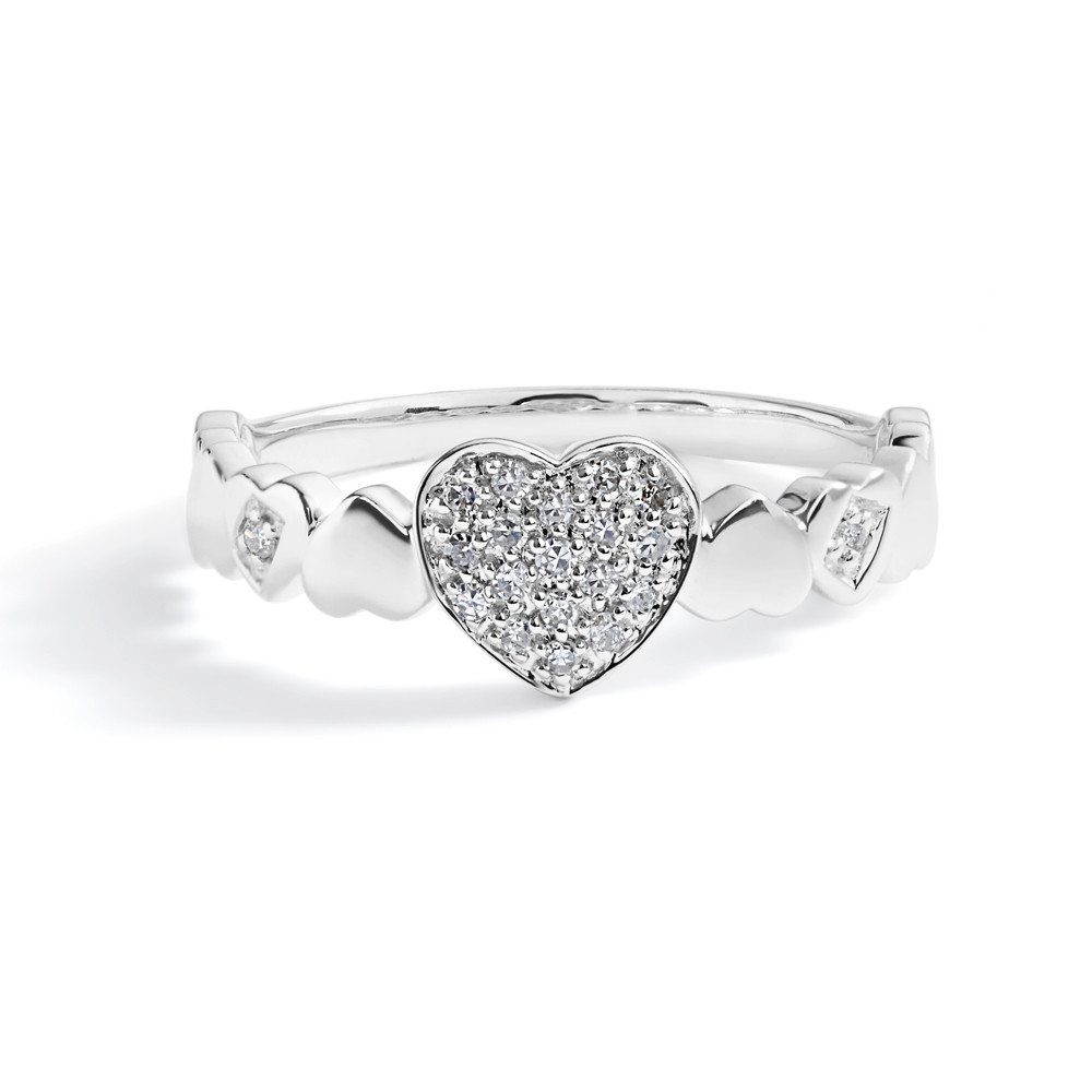 Petite Diamond Pavé Heart Ring In 14K White Gold Regarding Most Recent Pavé Hearts Band Rings (Gallery 5 of 25)