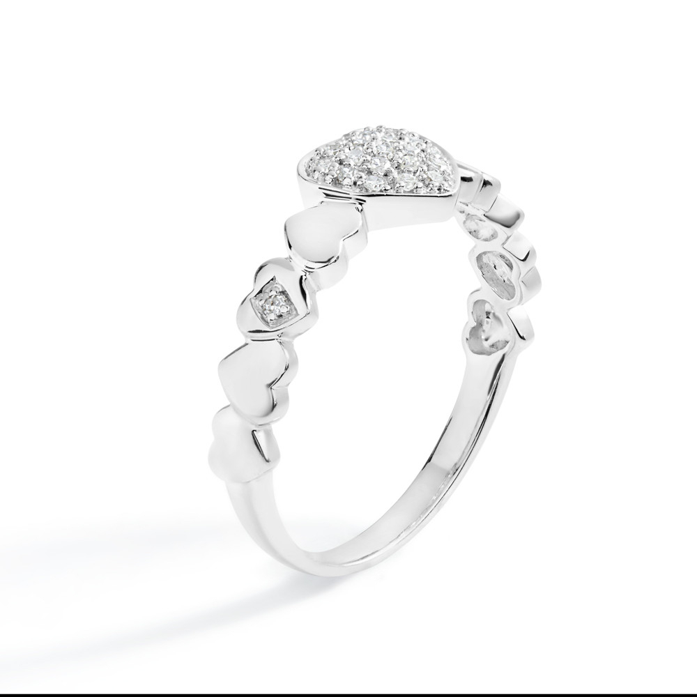 Petite Diamond Pavé Heart Ring In 14K White Gold Throughout Most Current Pavé Hearts Band Rings (View 20 of 25)