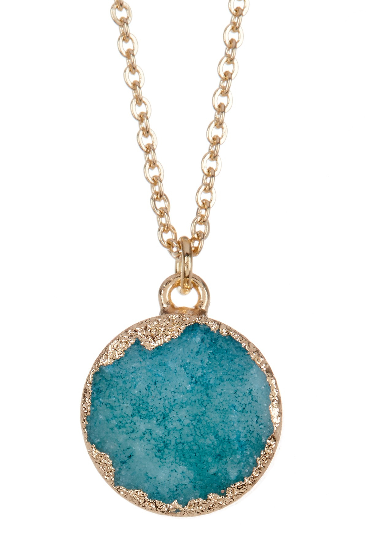 Petite Druzy Pendant Necklace Inside Most Popular London Blue Crystal December Droplet Pendant Necklaces (View 12 of 25)