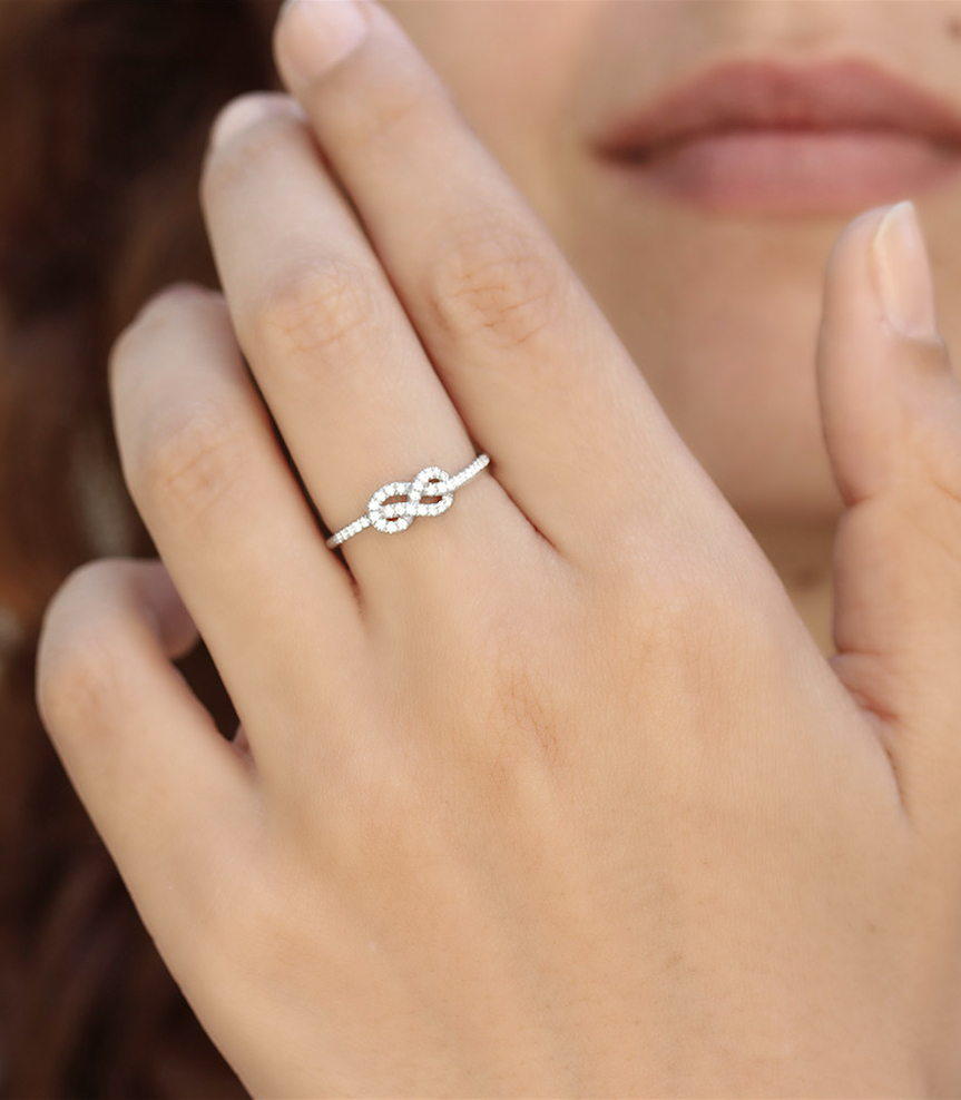 Petite Infinity Ring, Diamond Wedding Band, Solid Gold Intended For 2017 Simple Infinity Band Rings (View 17 of 25)