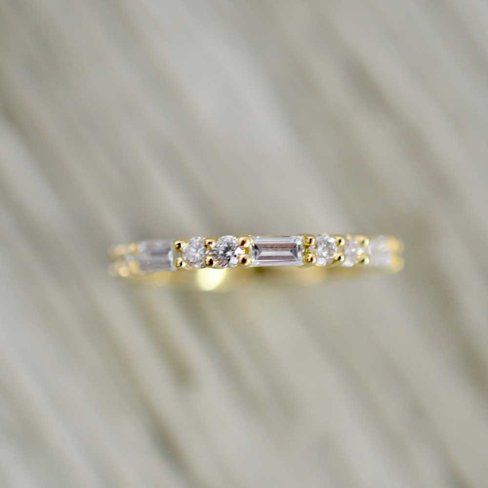 Petite Round And Straight Baguette Eternity Band In Yellow Pertaining To Most Current Baguette And Round Diamond Anniversary Bands In White Gold (View 15 of 25)