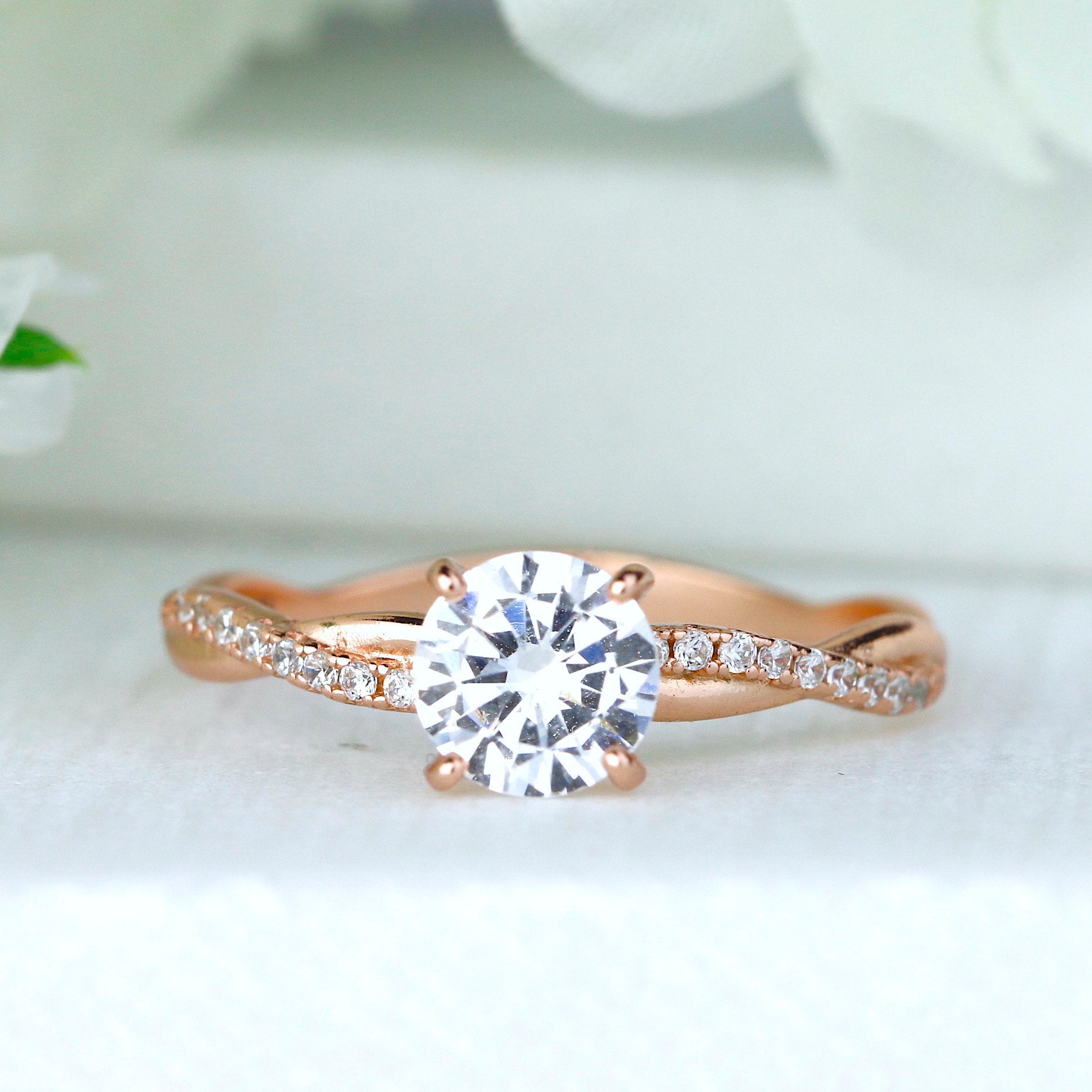 """Petite Twist Cz Rose Gold Sterling Silver Ring Twist Vine Engagement Ring With Most Up To Date Diamond Seven Stone """"x"""" Anniversary Bands In Sterling Silver And Rose Gold (Gallery 15 of 25)"""