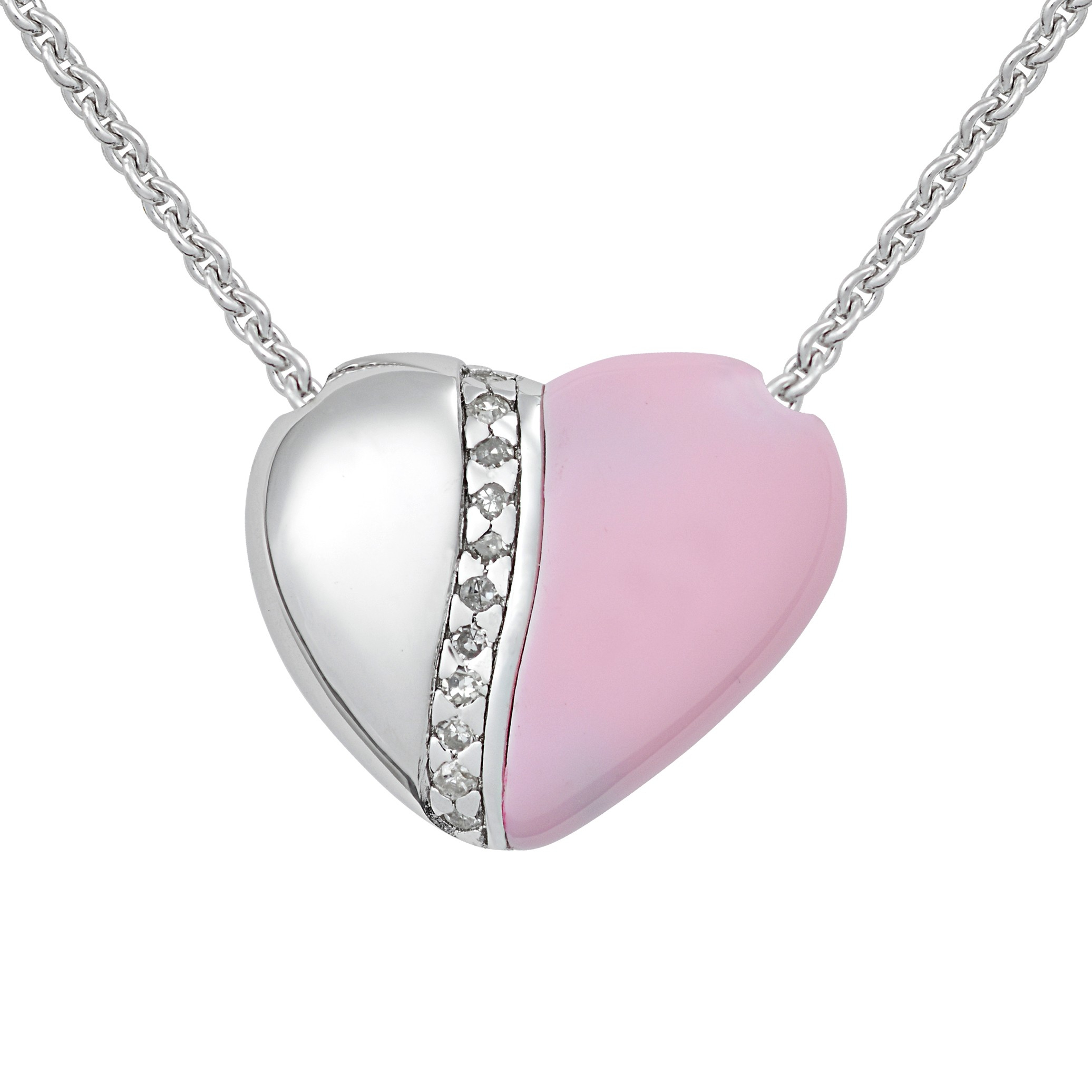 "Petra Azar ""river Of Love"" Sterling Silver And Pink Heart Necklace Throughout Best And Newest Pink October Birthstone Locket Element (View 13 of 25)"