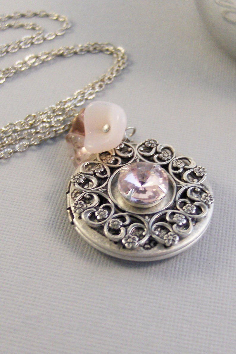 Pink Chiffon,pink Locket,pink,pink Jewelry,pink Locket,locket,silver Locket,pink Necklace,october Birthstone,october Valleygirldesigns (View 17 of 25)