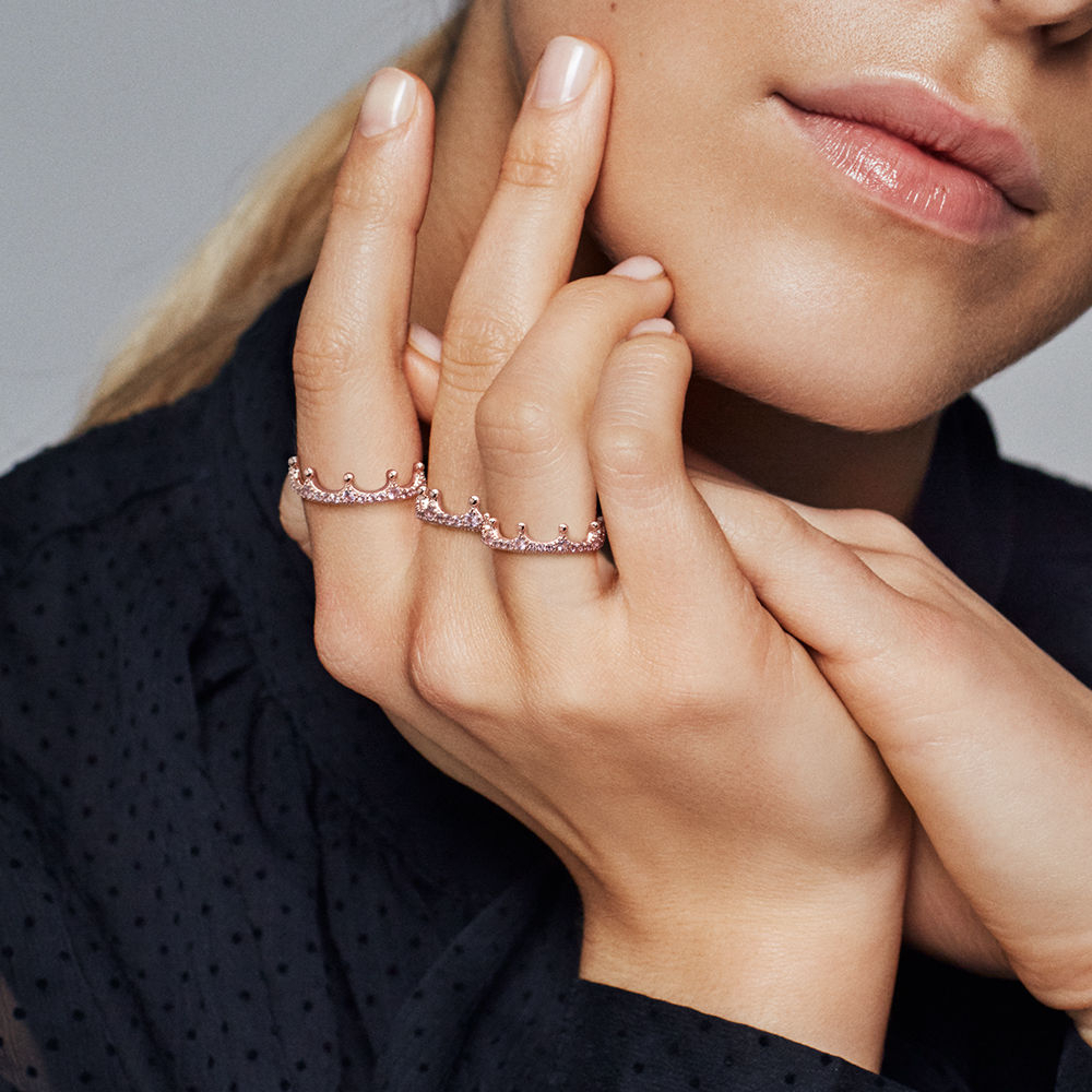 Pink Enchanted Crown Ring, Pandora Rose™ Pertaining To Most Popular Clear Sparkling Crown Rings (View 14 of 25)
