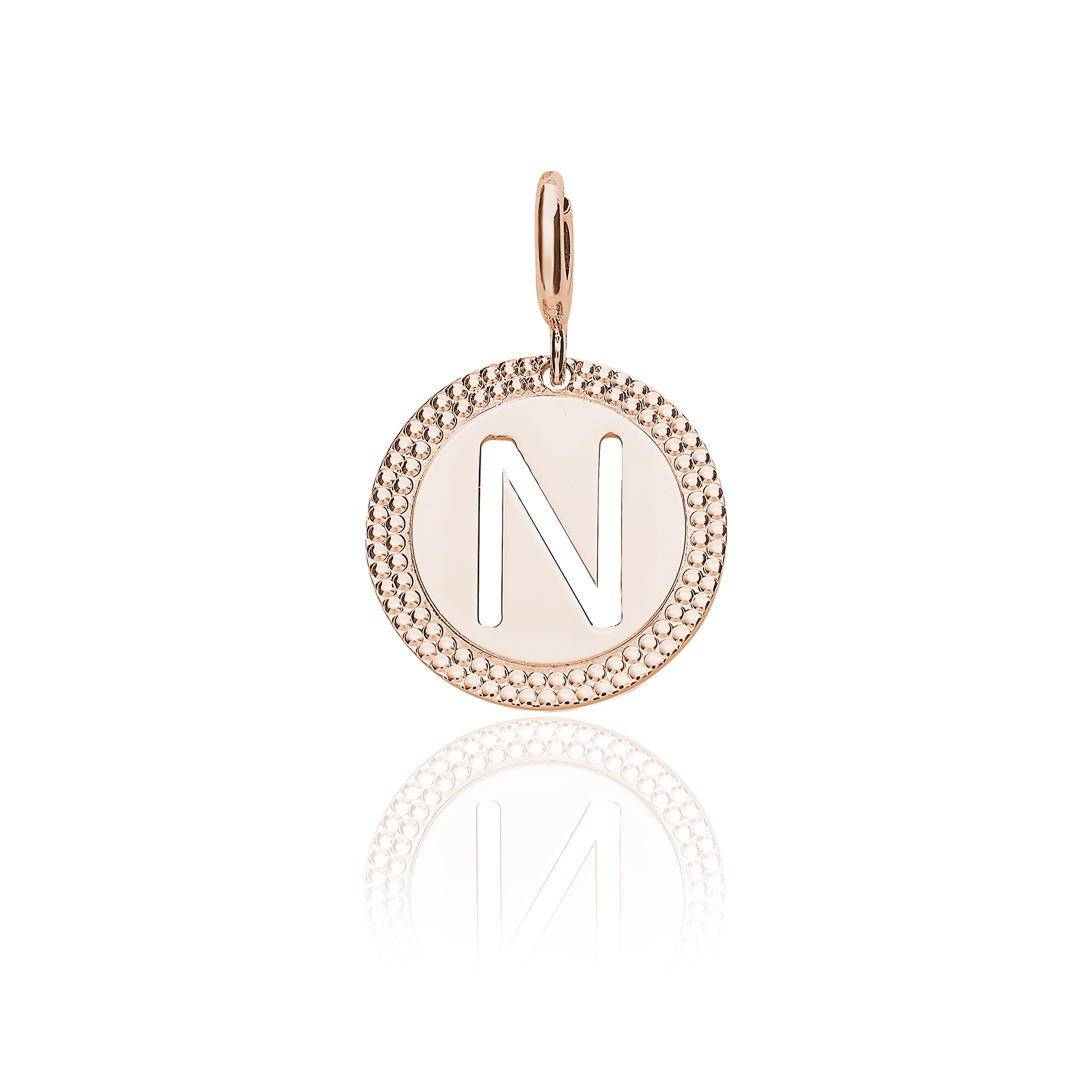 "Pink Gold Alphabet Pendant Letter ""n"" With Regard To Best And Newest Letter N Alphabet Locket Element Necklaces (View 16 of 25)"