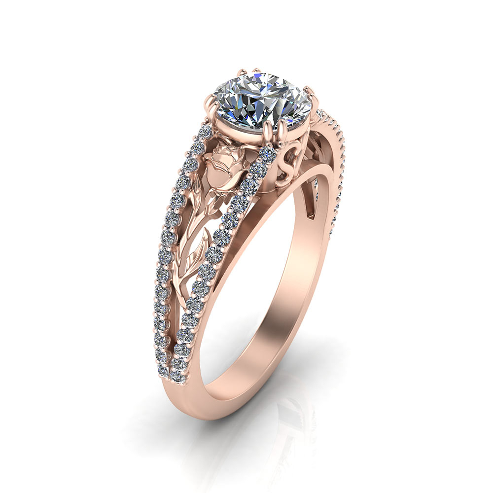 Pink Gold Rose Engagement Ring | Jewelry Designs Regarding Recent Diamond Station Anniversary Bands In Rose Gold (Gallery 12 of 25)