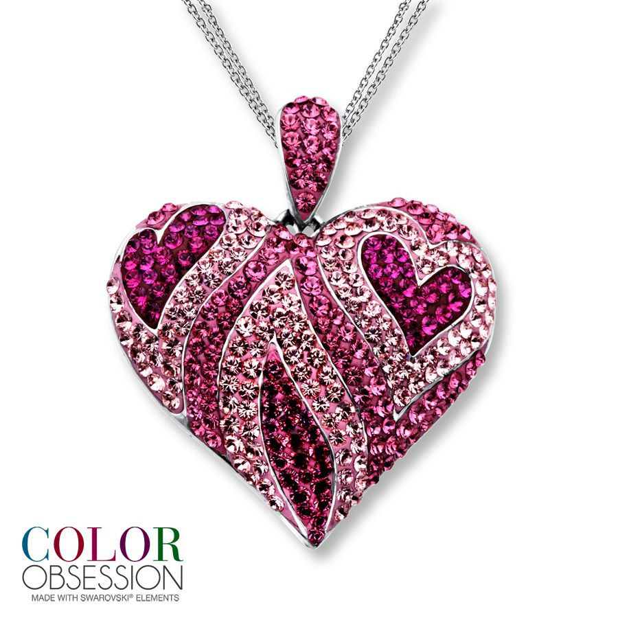 Pink Jewelry | Kay – Pink Swarovski Elements Heart Necklace Sterling Throughout Most Recent Purple February Birthstone Locket Element Necklaces (View 18 of 25)