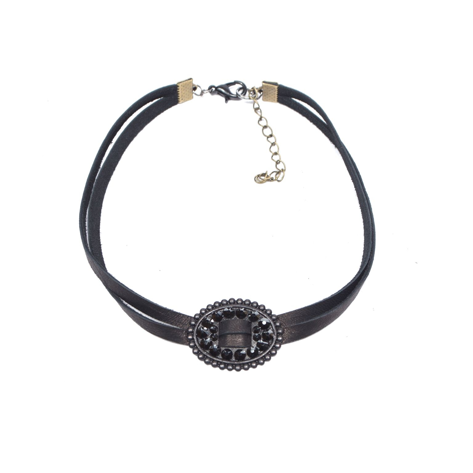Pink Panache Choker – Black/matt Black Oval Slide With Crystals In Latest Woven Fabric Choker Slider Necklaces (Gallery 19 of 25)