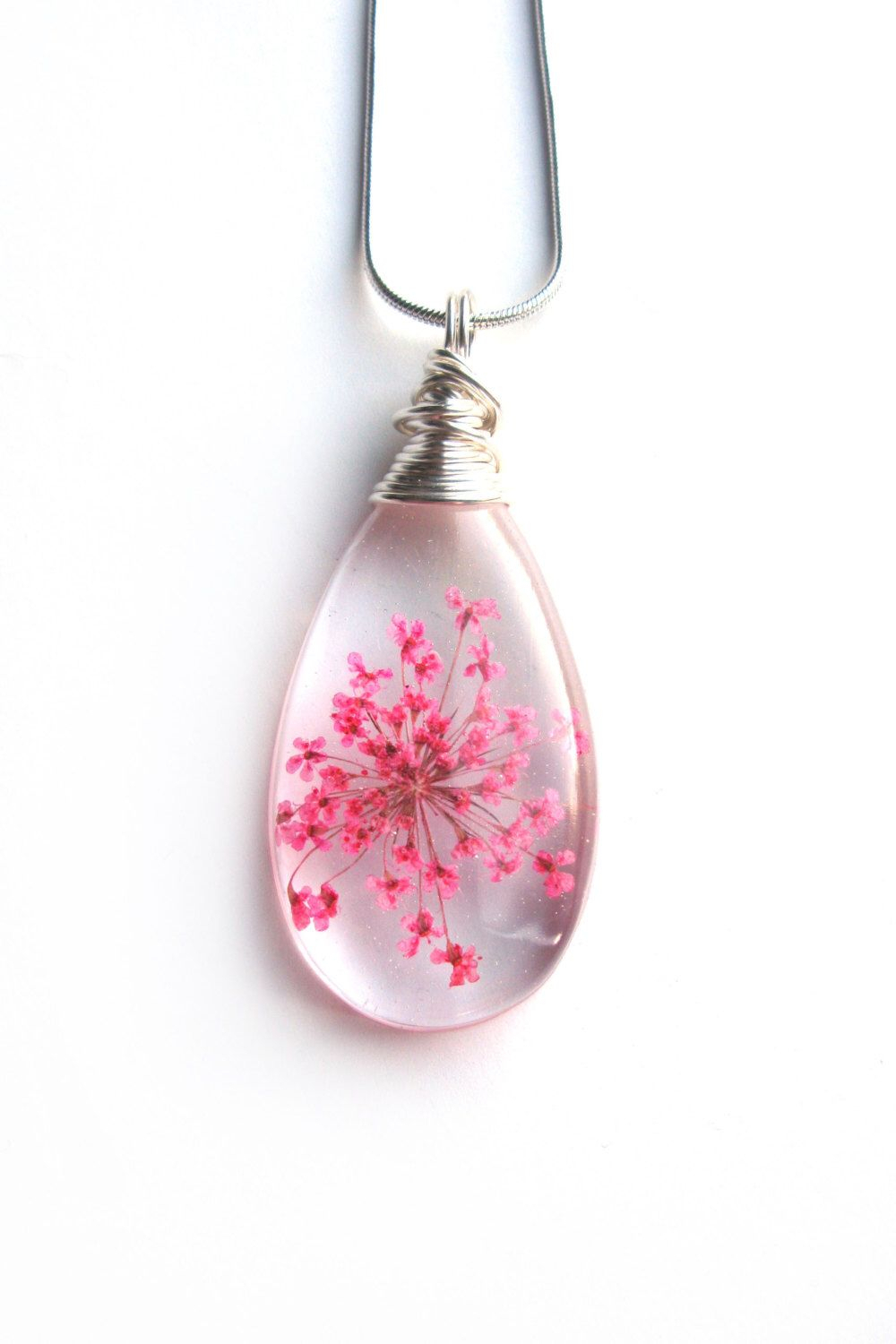 Pink Queen Anne Lace Necklace – Real Flower Encased In Resin With Regard To 2019 Pink Cherry Blossom Flower Locket Element Necklaces (View 7 of 25)