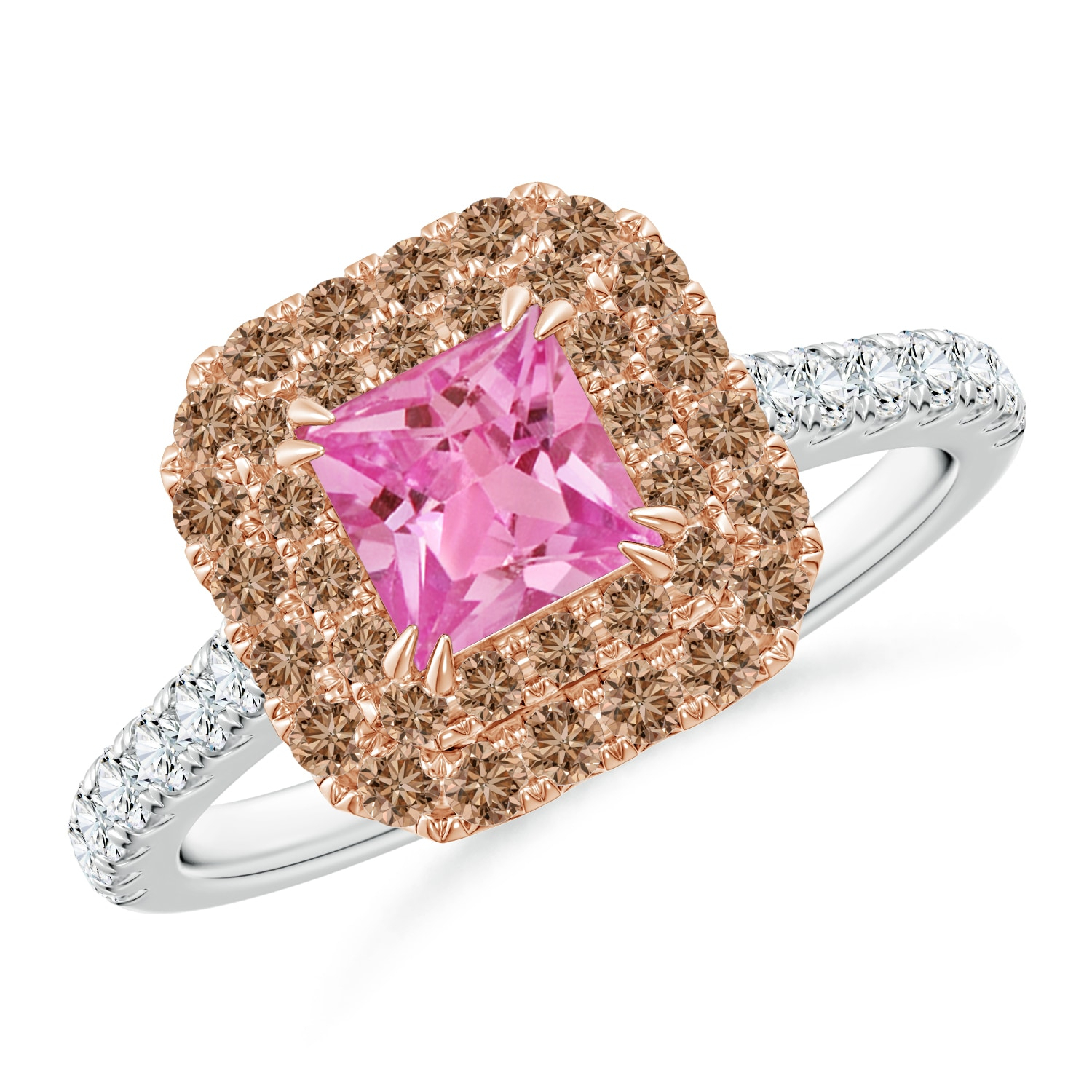 Pink Sapphire And Coffee Diamond Double Halo Two Tone Ring With Most Recent Sparkling Square Halo Rings (View 14 of 25)
