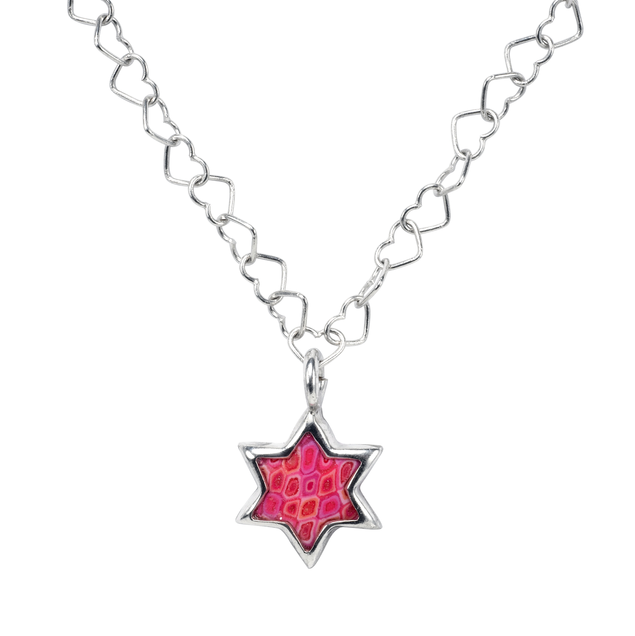 Pink Star Of David Pendant With Heart Chain Necklace Regarding 2019 Joined Hearts Chain Necklaces (Gallery 9 of 25)