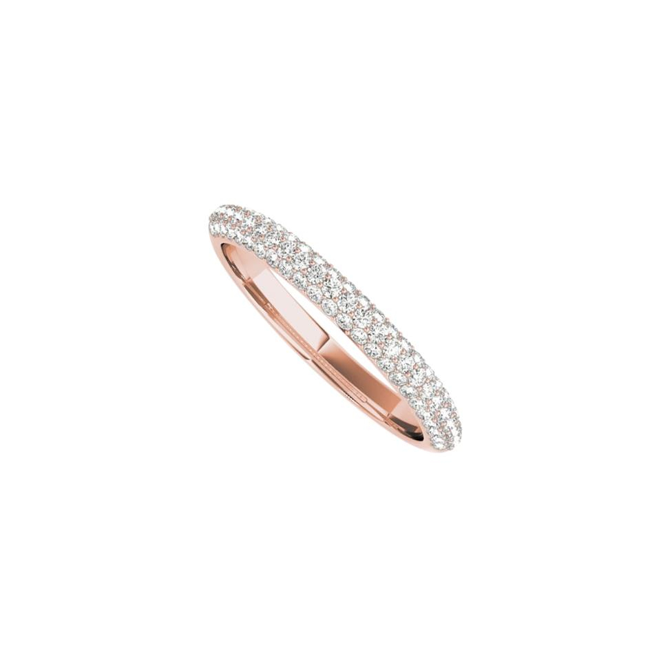 Pink Three Rows Cz Simple Rose Gold Wedding Band For Women Ring 71% Off  Retail In Most Up To Date Diamond Three Row Anniversary Bands In Rose Gold (View 12 of 25)