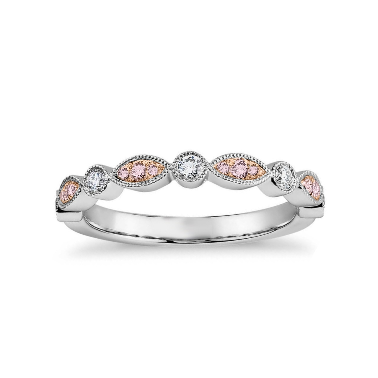 Pink & White Diamond Designer Band Ring, Sku 27120r ( (View 18 of 25)