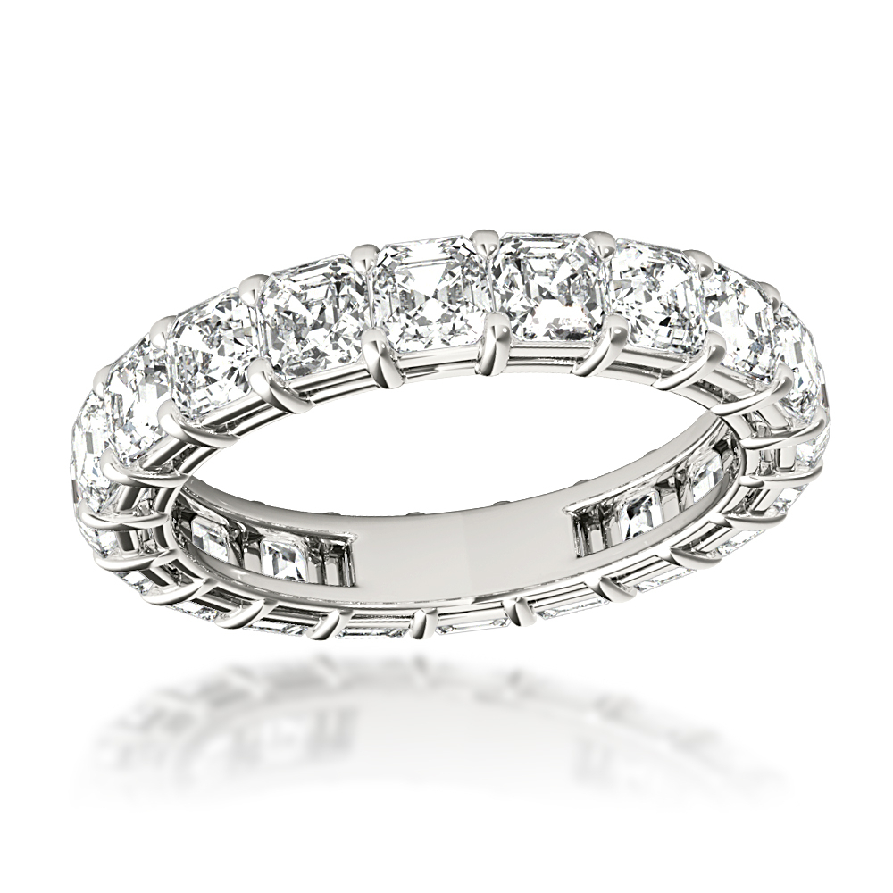 Platinum 4 Carat Asscher Cut Diamond Eternity Band Anniversary Ring Within Most Up To Date Diamond Anniversary Bands In Platinum (View 16 of 25)