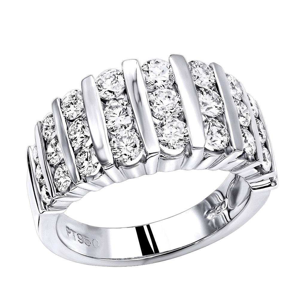 Platinum Anniversary Rings Multi Row Ladies Diamond Wedding Band  (View 22 of 25)