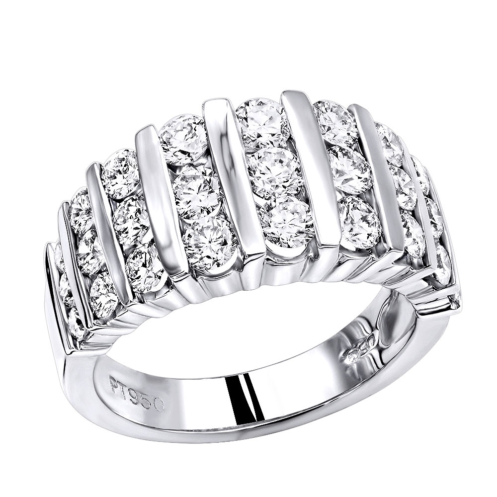 Platinum Anniversary Rings Multi Row Ladies Diamond Wedding Band 2.19Ct Vs With Most Popular Diamond Multi Row Anniversary Bands In White Gold (Gallery 16 of 25)