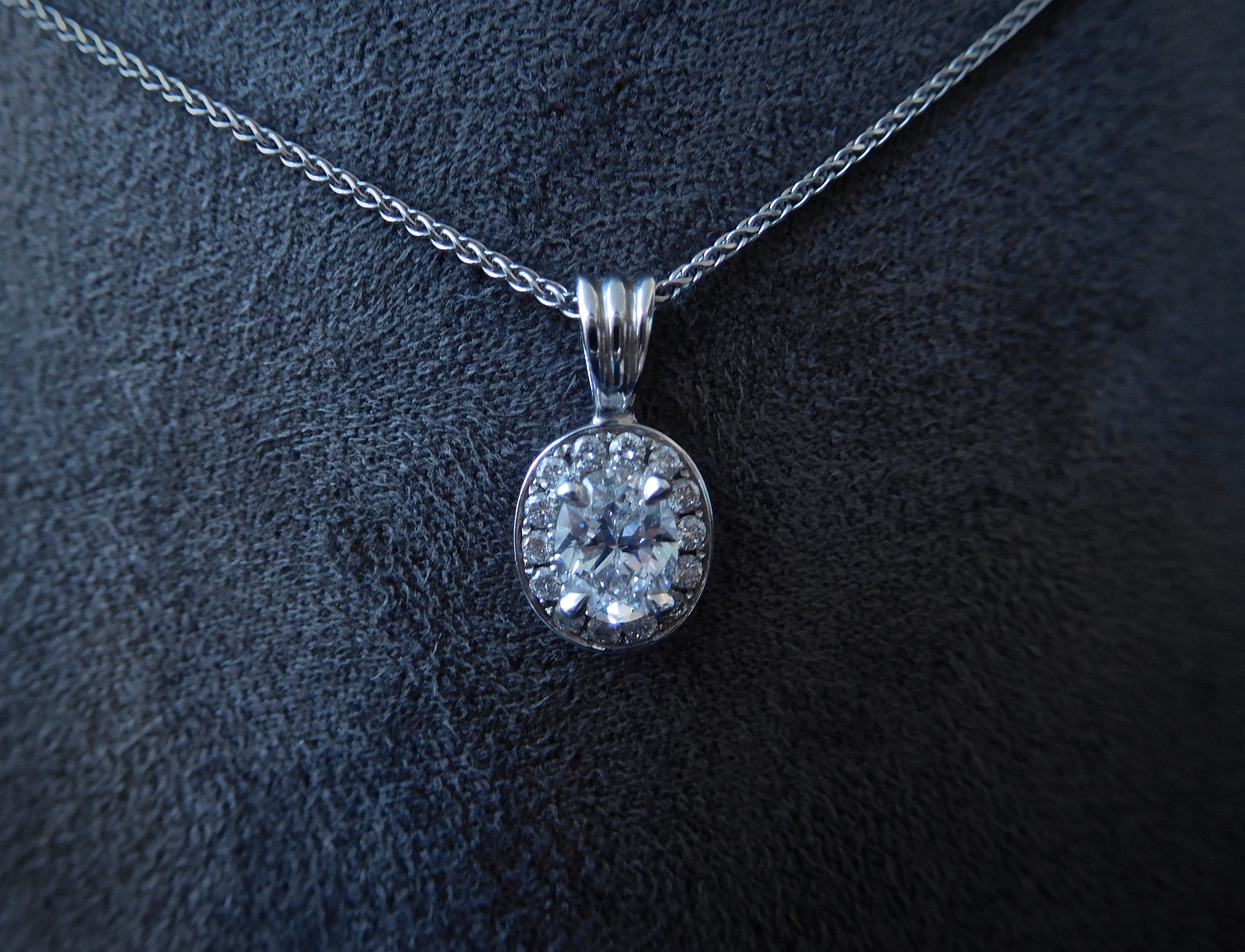 Platinum & Oval Cut Diamond Pendant, Oval Cut Diamond Halo Pendant With Regard To Most Recent Oval Sparkle Halo Pendant Necklaces (View 18 of 25)