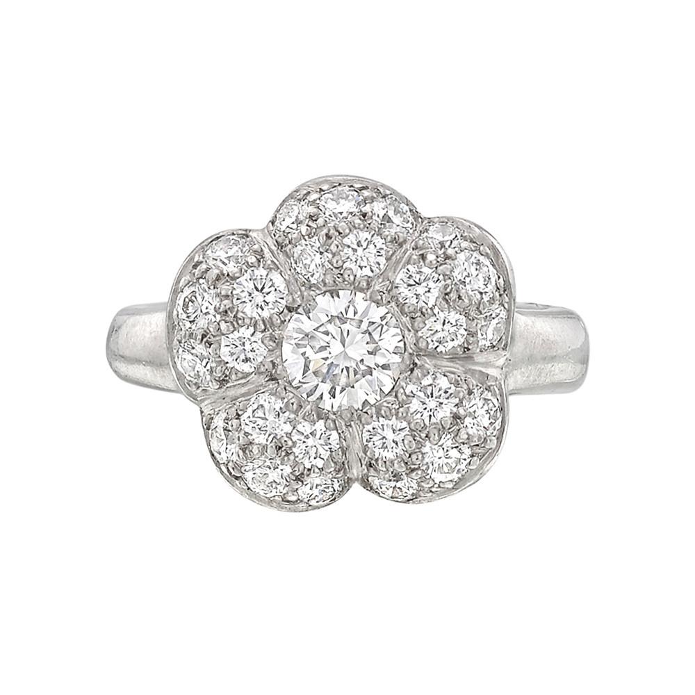 Platinum Pavé Diamond Flower Ring | Betteridge Pertaining To Newest Pavé Flower Rings (View 4 of 25)