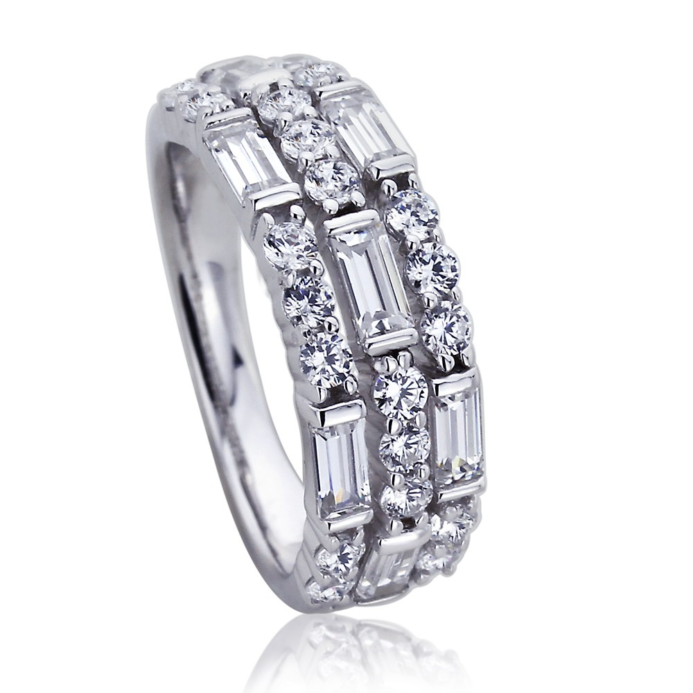 Platinum Plated Sterling Silver Wedding Band Round & Baguette Cz Three Row  Anniversary Ring Intended For 2020 Diamond Two Row Anniversary Bands In Sterling Silver (Gallery 24 of 25)