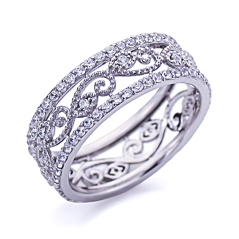 Featured Photo of Diamond Vintage Style Anniversary Bands In Sterling Silver