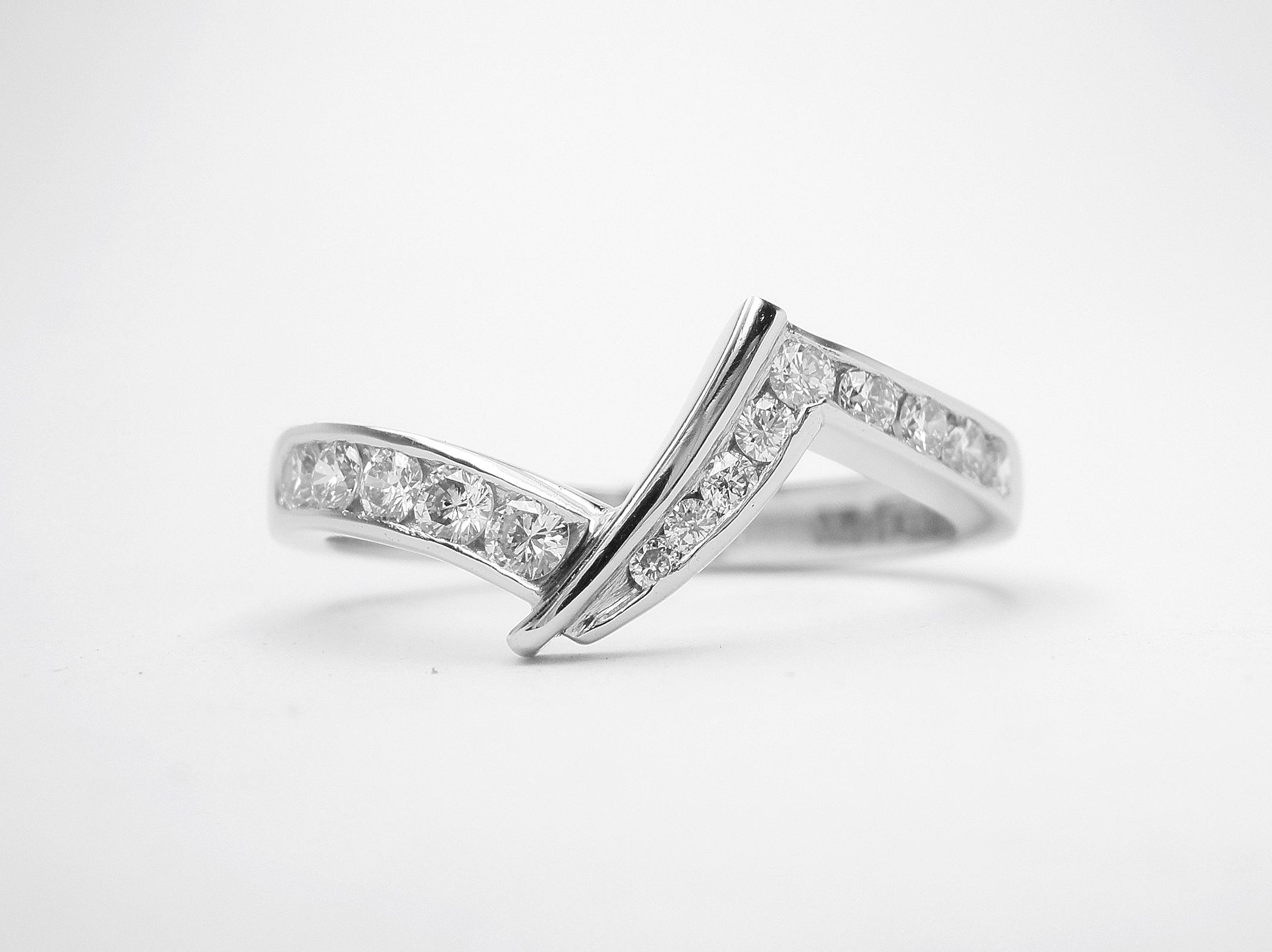 Platinum Zig Zag Wedding Ring Shaped To Fit A Pear Shaped In Most Recently Released Diamond Zig Zag Anniversary Rings In White Gold (View 18 of 25)