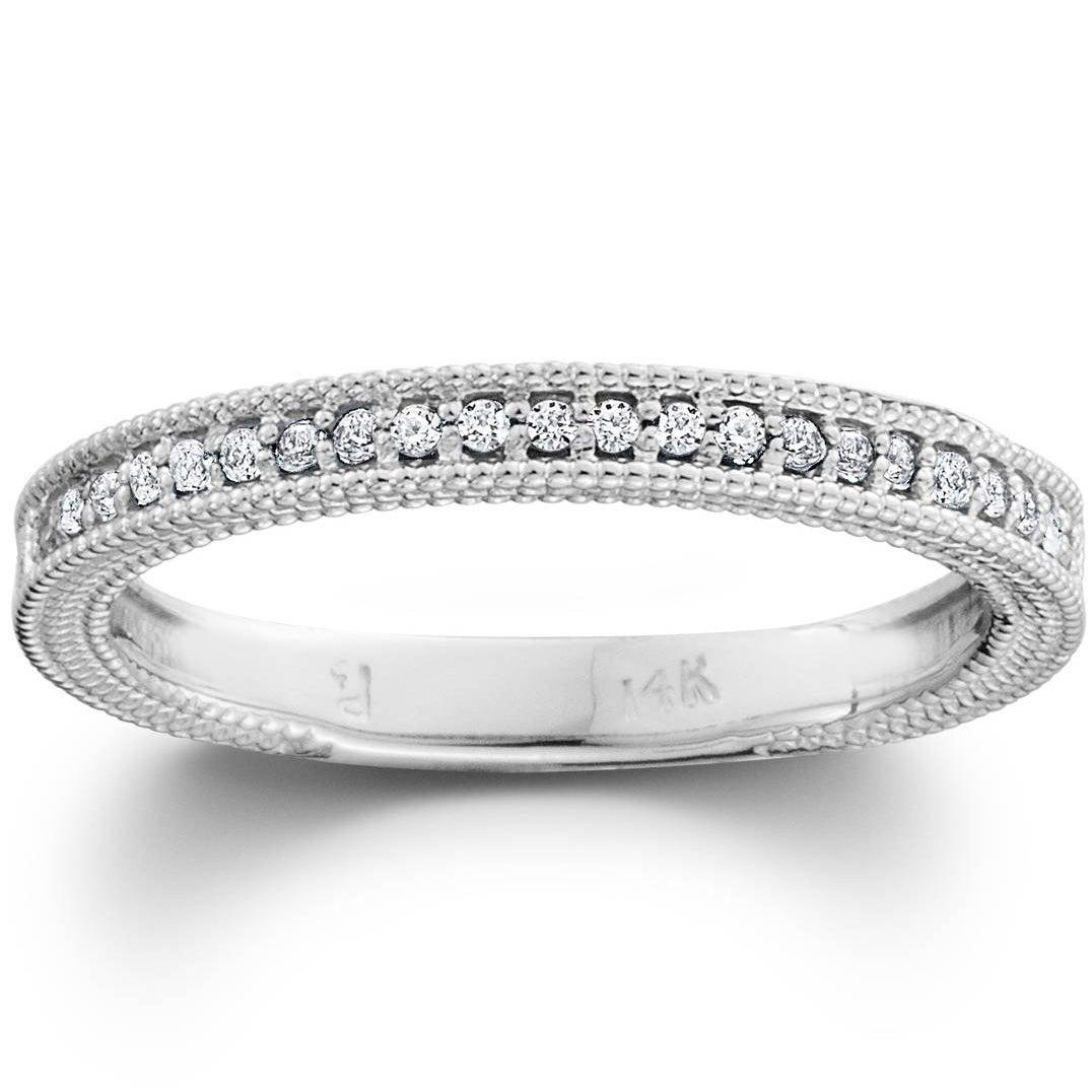 Pompeii3 10K White Gold 1/5 Ct Tdw Diamond Wedding Ring Stackable Womens  Vintage Milgrain Anniversary Band In Recent Diamond And Milgrain Anniversary Bands In White Gold (Gallery 9 of 25)