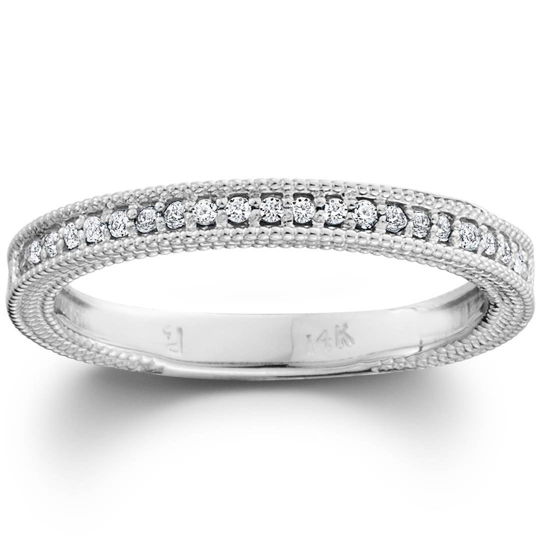 Pompeii3 10k White Gold 1/5 Ct Tdw Diamond Wedding Ring Stackable Womens Vintage Milgrain Anniversary Band With Regard To Latest Diamond Accent Milgrain Anniversary Bands In White Gold (View 9 of 25)