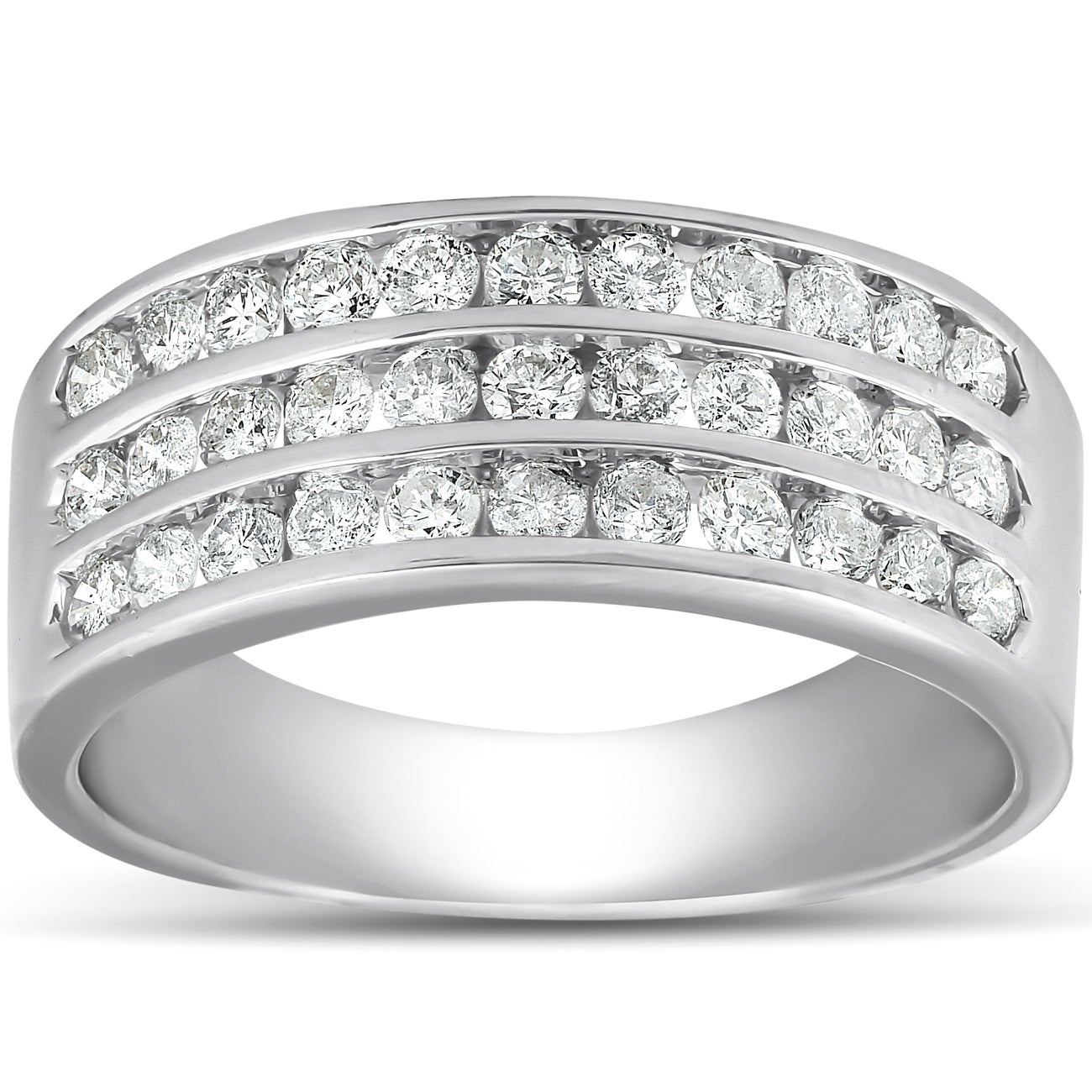 Pompeii3 10K White Gold 1 Ct Tdw Diamond Three Row Channel Set Wedding Ring  Womens Anniversary Band For Newest Diamond Three Row Anniversary Bands In Gold (View 15 of 25)