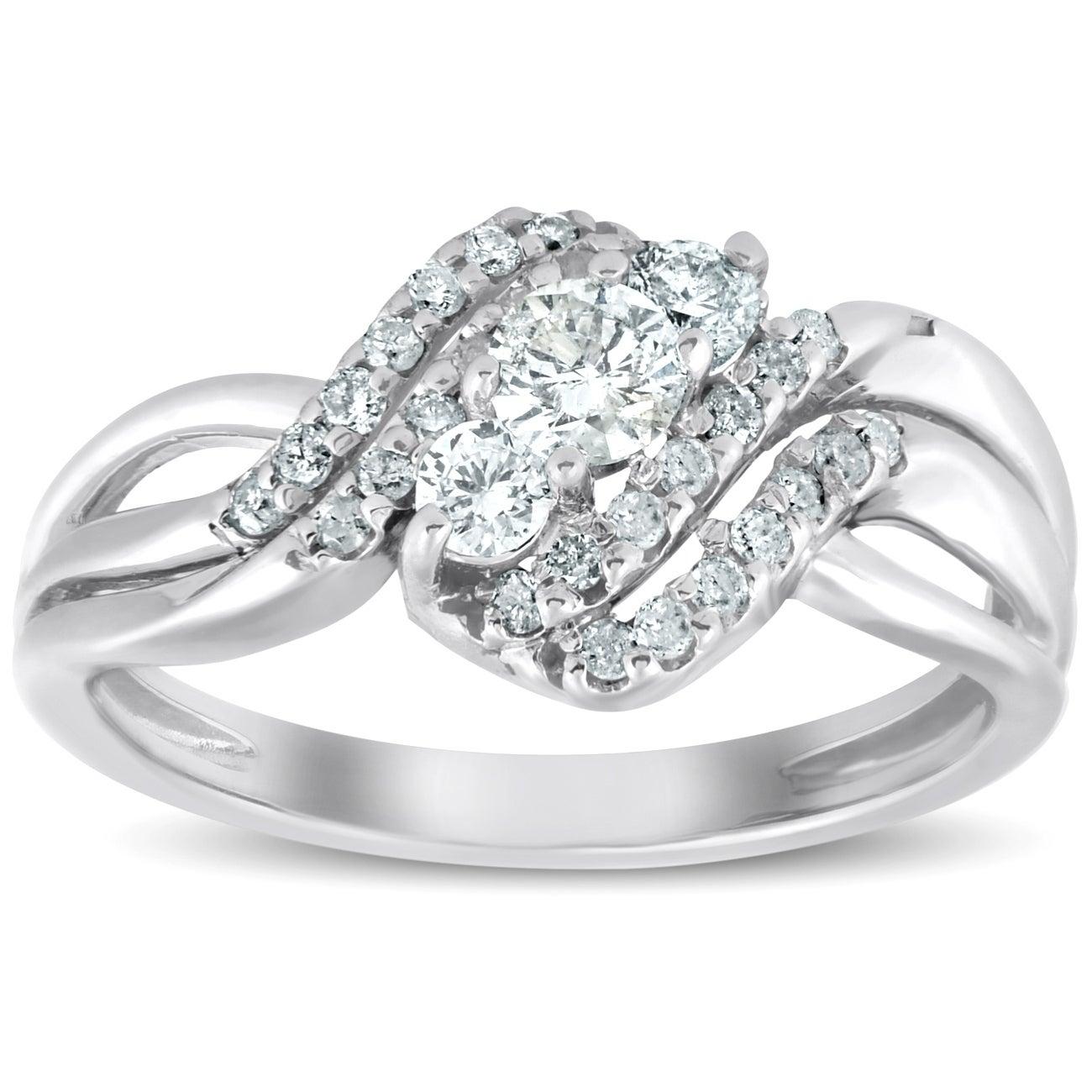 Pompeii3 10k White Gold 5/8 Ct Tdw Three Stone Diamond Multi Row Engagement Anniversary Ring Inside 2019 Diamond Multi Row Anniversary Ring In White Gold (View 8 of 25)
