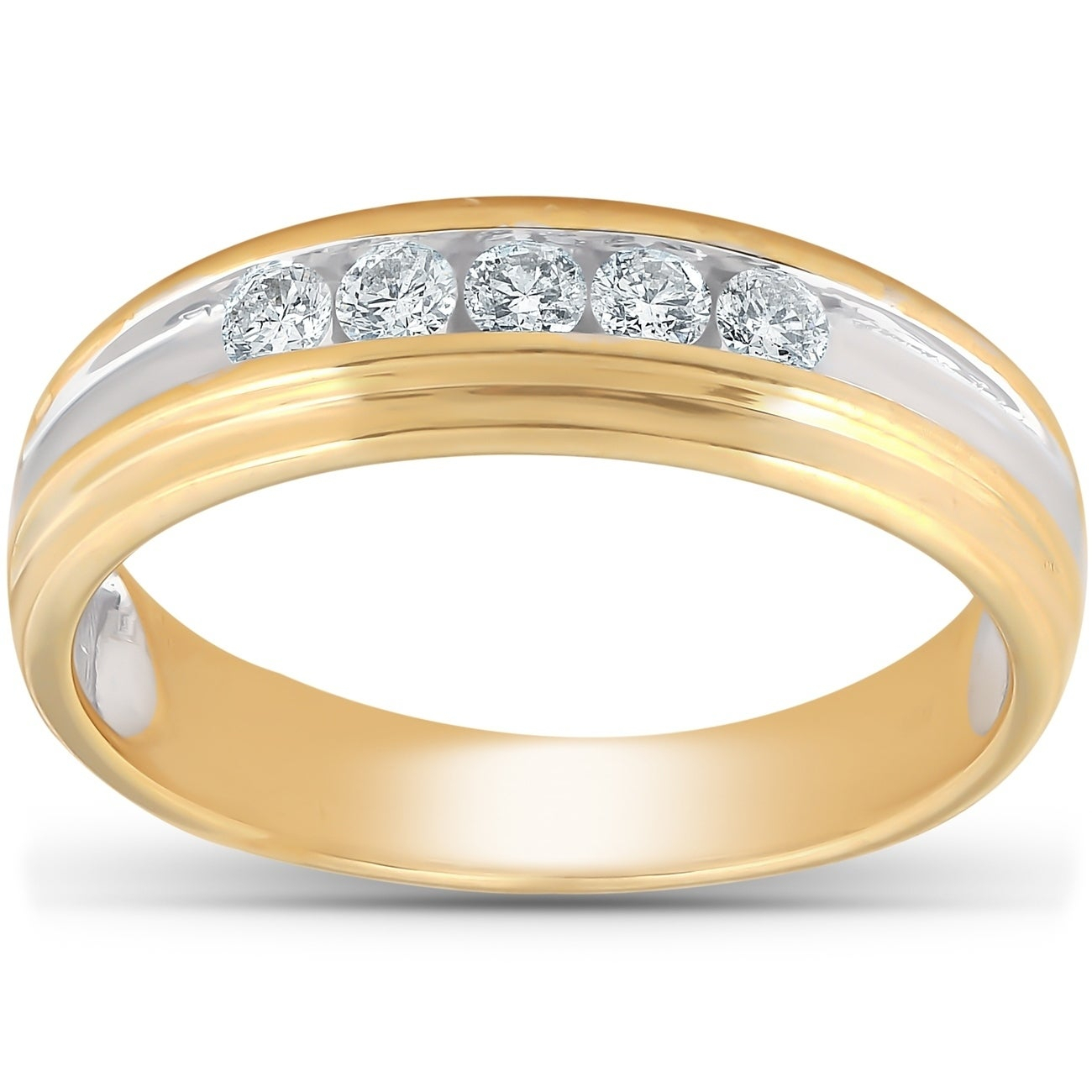 Pompeii3 10k Yellow Gold 1/4 Ct Tdw Mens Diamond Channel Set Wedding Ring Anniversary Band Regarding Most Recent Diamond Slant Anniversary Bands In Gold (View 11 of 25)