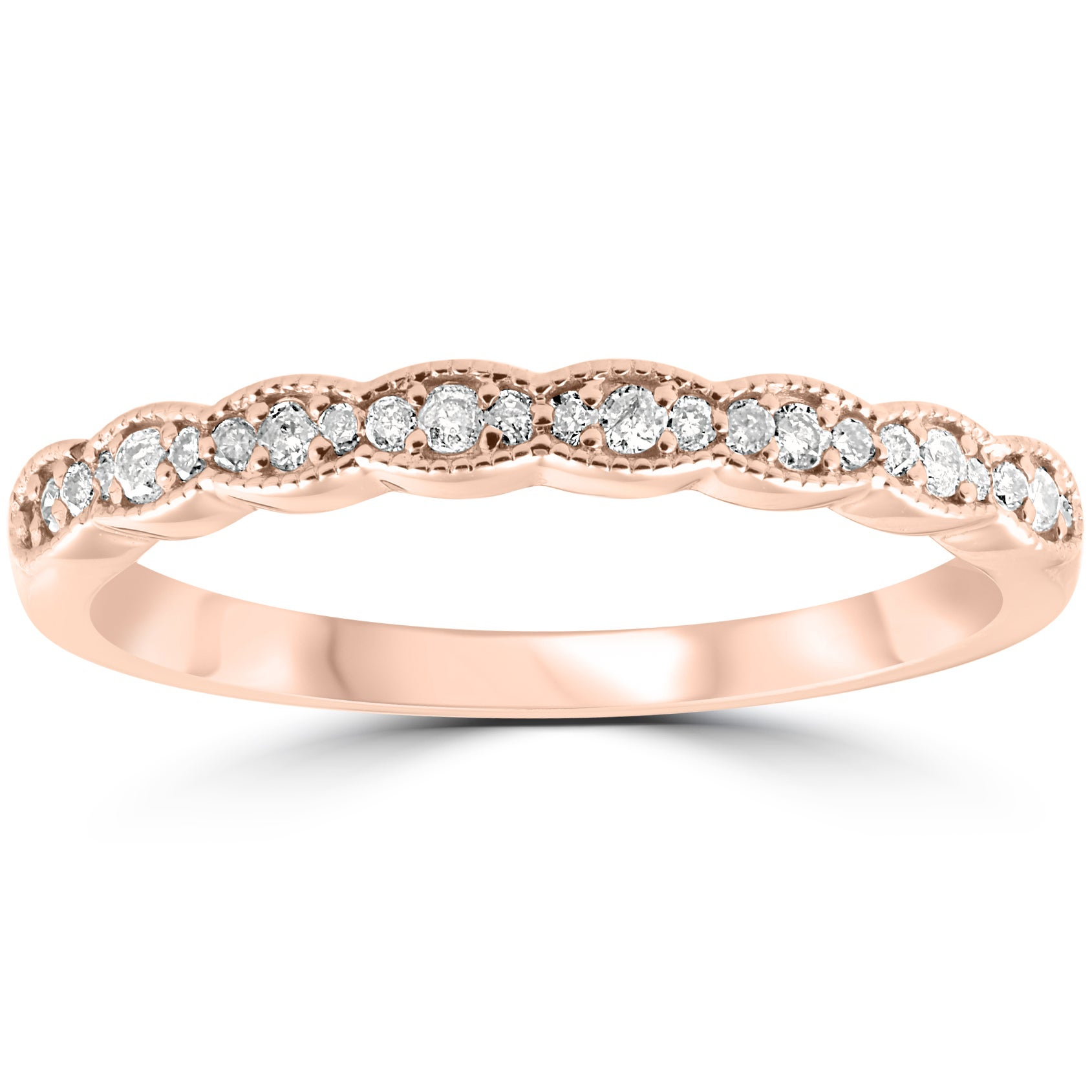 """Pompeii3 14K Rose Gold 1/5Ct Tdw Diamond Stackable Wedding Ring Regarding Most Up To Date Diamond Seven Stone """"x"""" Anniversary Bands In Sterling Silver And Rose Gold (Gallery 3 of 25)"""