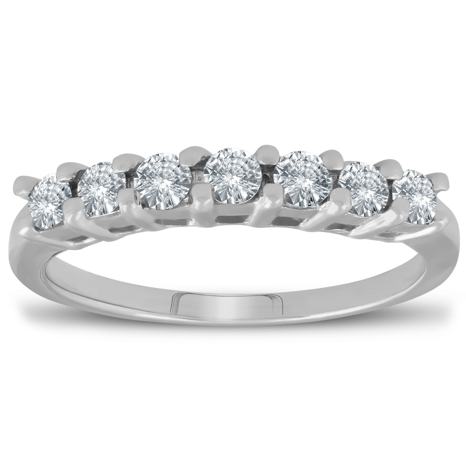 Pompeii3 14K White Gold 1/2 Ct Tdw Diamond 7 Stone Wedding Ring Womens  Anniversary Band With Regard To Best And Newest Diamond Seven Stone Anniversary Bands In White Gold (Gallery 13 of 25)