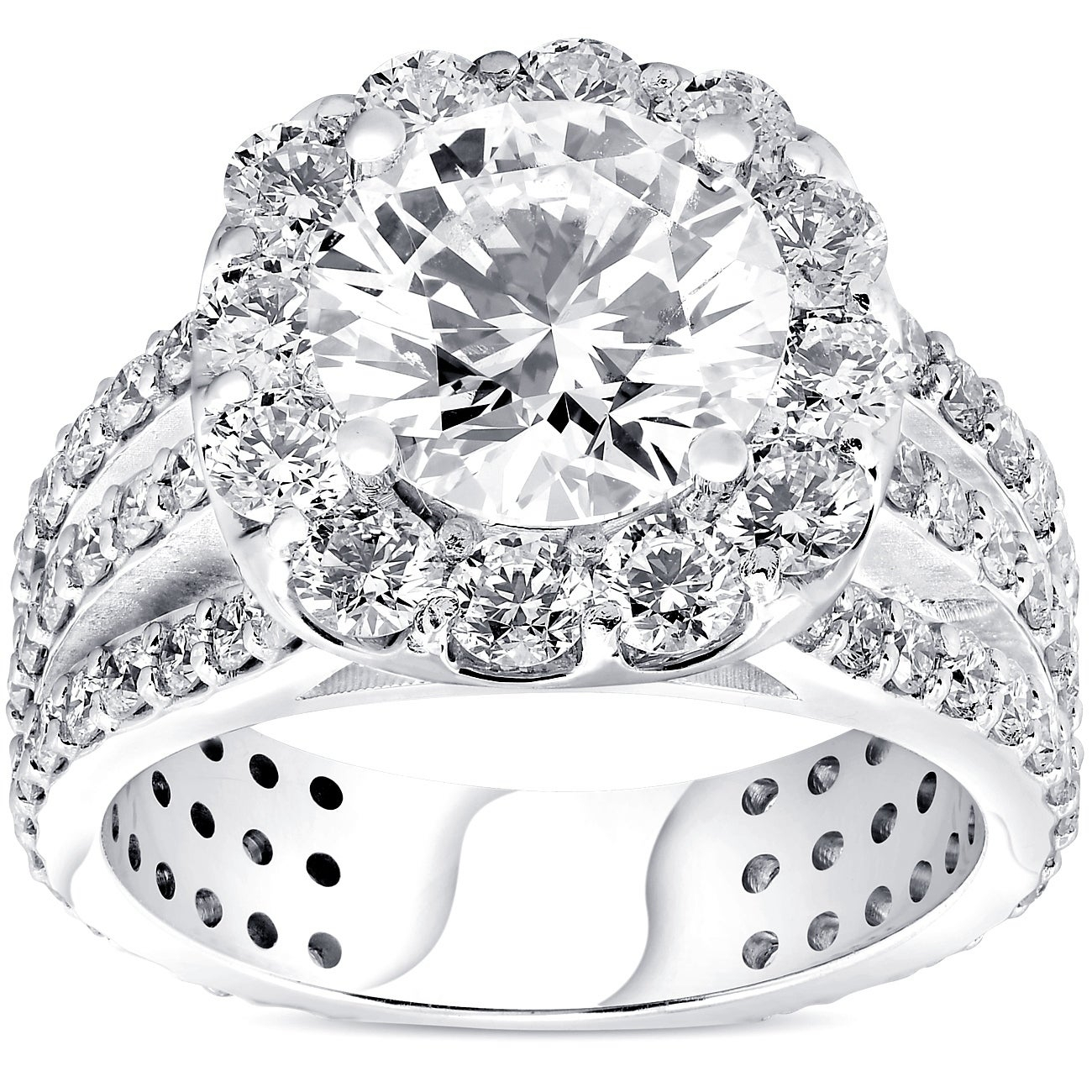 Pompeii3 14k White Gold 4 1/2 Ct Tdw Diamond Clarity Enhanced Halo 3 Row Engagement Ring In Recent Enhanced Black And White Diamond Three Row Anniversary Bands In White Gold (View 9 of 25)