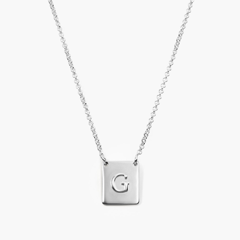 Pop Up Initial Necklace, Silver Within Most Current Letter Q Alphabet Locket Element Necklaces (View 15 of 26)