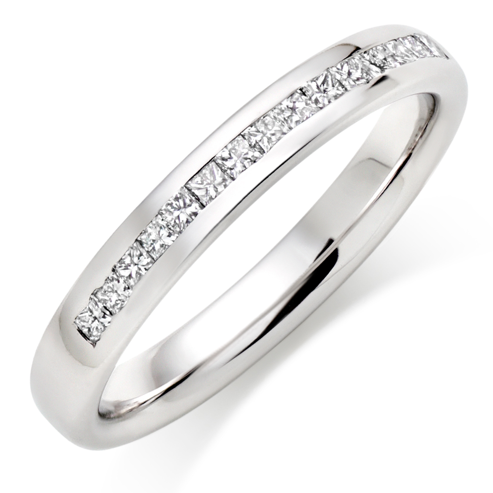 Popular Platinum Diamond Wedding Ring Half Eternity 0007300 Pertaining To Most Recent Diamond Anniversary Bands In Platinum (View 8 of 25)
