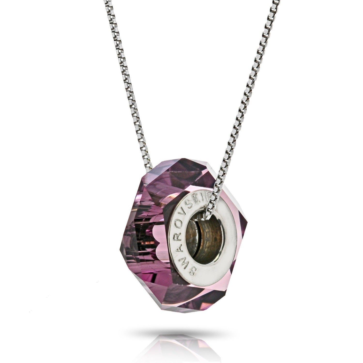 Pori Sterling Silver Austrian Crystal Amethyst Becharmed Fortune Chain Necklace Throughout Recent Shimmering Knot Locket Element Necklaces (View 18 of 25)