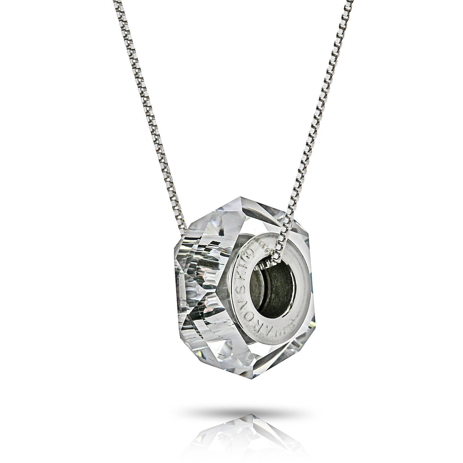 Pori Sterling Silver Austrian Crystal Clear Becharmed Fortune Chain Necklace Regarding Current Shimmering Knot Locket Element Necklaces (View 16 of 25)