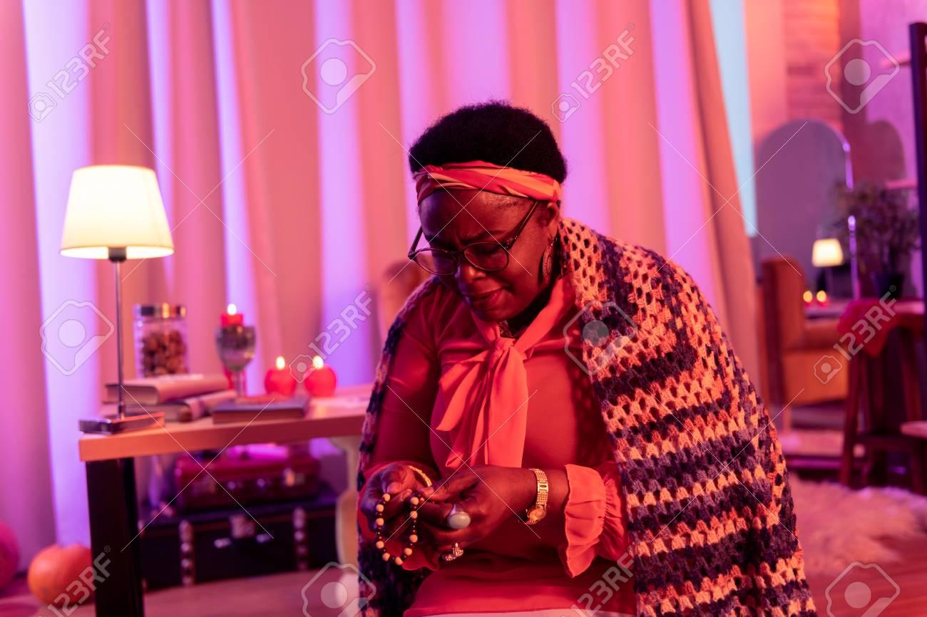 Prayer. African American Plump Fortune Teller Wearing Big Rings.. Inside Best And Newest Strings Of Beads Rings (Gallery 22 of 25)