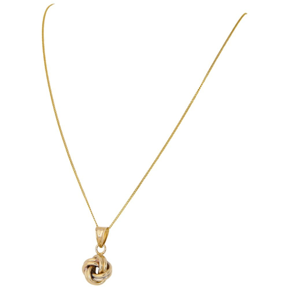 Pre Owned 9ct Gold Knot Pendant & Curb Chain Necklace In Most Up To Date Knotted Hearts T Bar Necklaces (View 12 of 25)