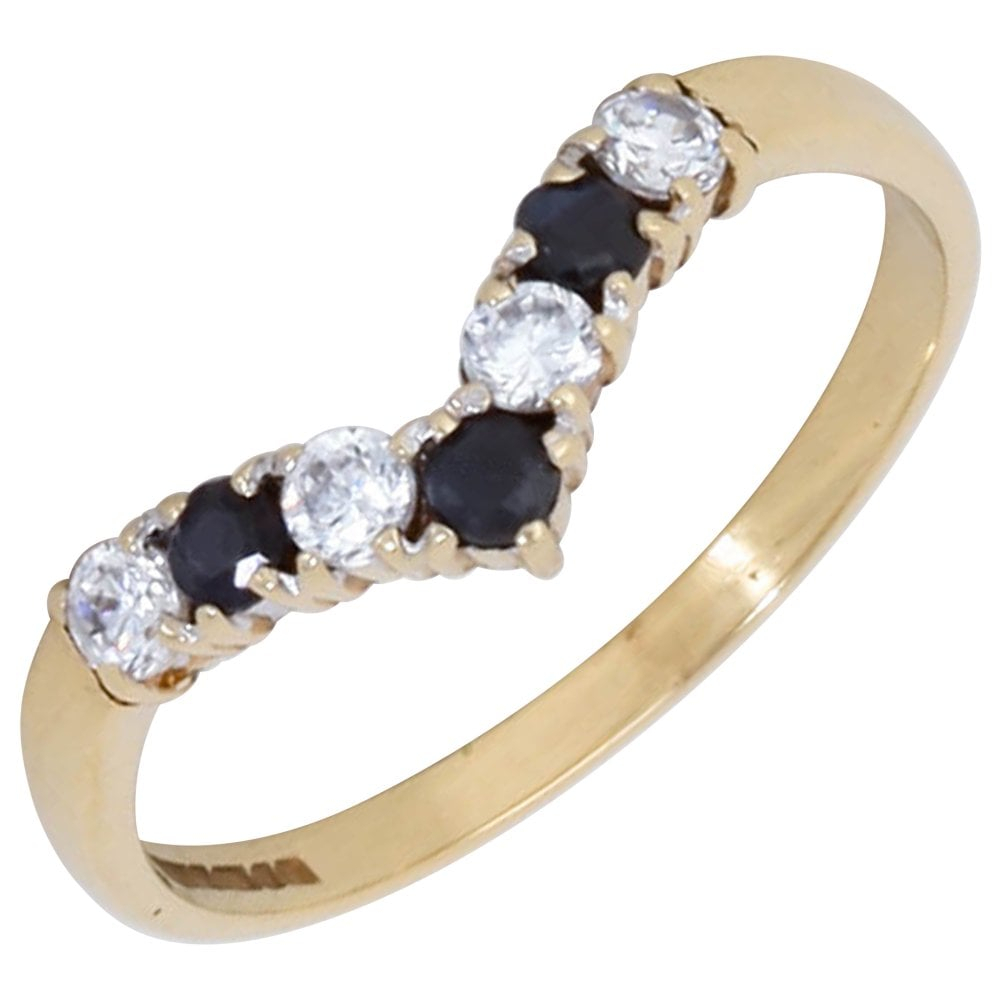 Pre Owned 9ct Gold Sapphire & Cubic Zirconia Wishbone Ring For Most Up To Date Classic Wishbone Rings (View 17 of 25)