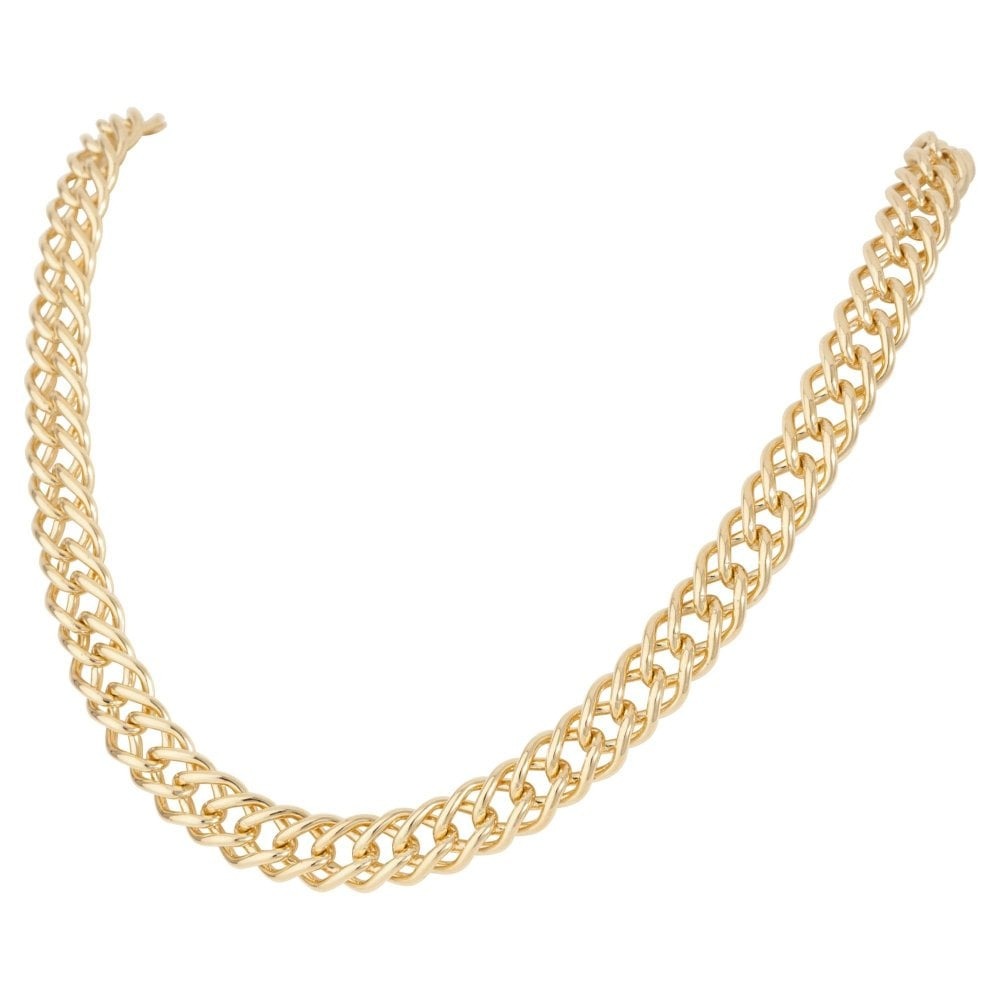 Pre Owned 9Ct Yellow Gold 18 Inch Double Curb Chain Necklace For Latest Curb Chain Necklaces (View 18 of 25)
