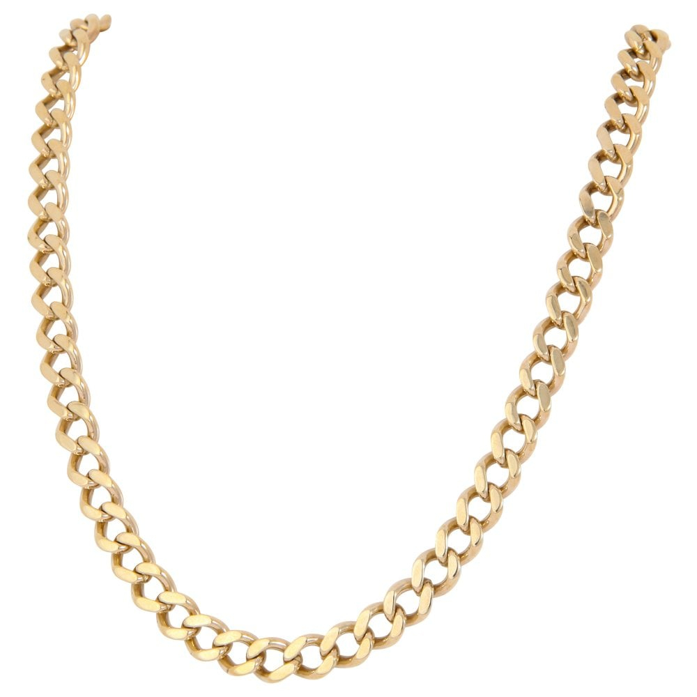 Pre Owned 9ct Yellow Gold 26 Inch Heavy Curb Chain Necklace Pertaining To Current Curb Chain Necklaces (View 8 of 25)
