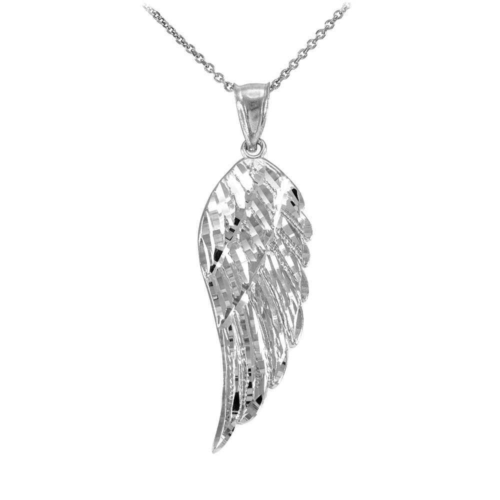 Precision Cut Angel Wing Pendant Necklace In Sterling Silver Inside 2020 Angel Wing Pendant Necklaces (View 18 of 25)