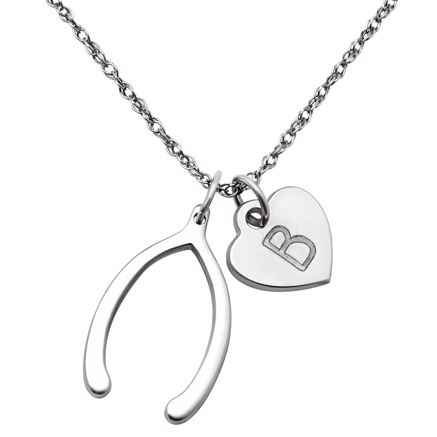 Premium Sterling Silver Wishbone And Initial Heart Necklace Regarding Most Current Polished Wishbone Necklaces (View 15 of 25)