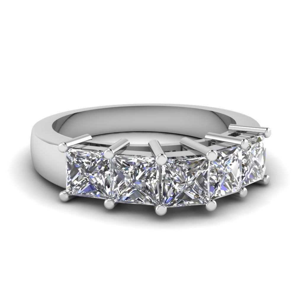 Princess Brilliance Band Pertaining To 2019 Diamond Five Stone Swirl Anniversary Bands In White Gold (View 4 of 25)