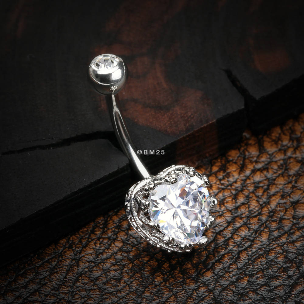 Princess Crown Prong Heart Sparkle Belly Button Ring – Clear Throughout Current Clear Sparkling Crown Rings (View 21 of 25)
